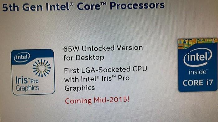 不鎖頻版Broadwell 5月中發布:65W TDP,配Iris Pro核心顯示