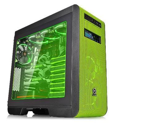 曜越Core V51 Riing風扇版 中直立式綠色開窗機殼