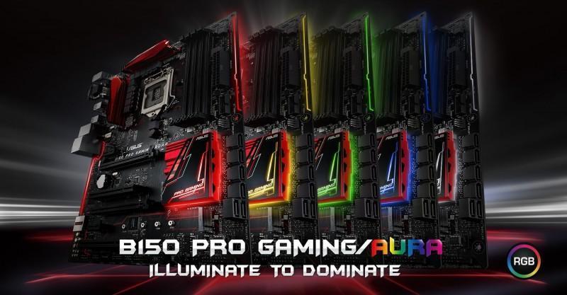 華碩推出B150 Pro Gaming/Aura和 B150 Pro Gaming主機板,其中B150 Pro Gaming/Aura具有燈光效果