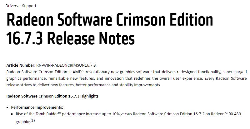 加強古墓奇兵:崛起性能,AMD更新Crimson Edition 16.7.3