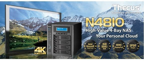 Thecus 色卡司為旗下多媒體家族系列推出全新4 Bays NAS - N4810