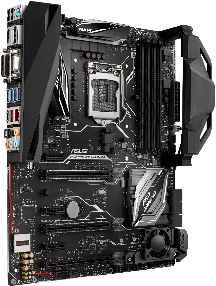 ASUS首款3D列印擴充+發光Z170 PROGAMING AURA開箱 - XFastest - Z170 Pro Gaming Aura with 3D printed M.2 fan holder, and IO and cable covers.png