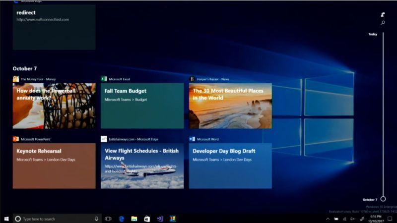Windows 10系統級時間軸界面曝光:明年上線