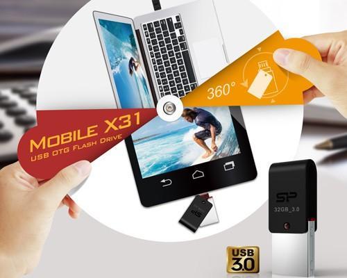 SP廣穎電通推出全新USB 3.0雙用OTG隨身碟—Mobile X31 手機電腦飆速傳輸 360度全面防護