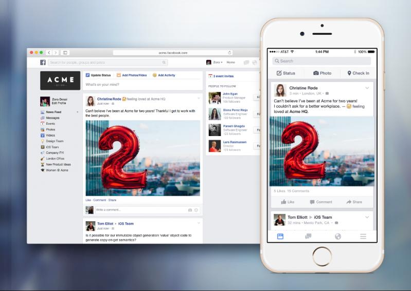 Facebook工作通訊軟體「Facebook at Work」 即將上架iOS及Android
