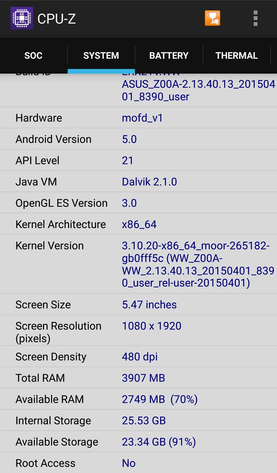 [開箱] 一機難求Zenfone2 ZE551ML 4GB-32GB入手開箱 - XFastest - CPU-Z.jpg