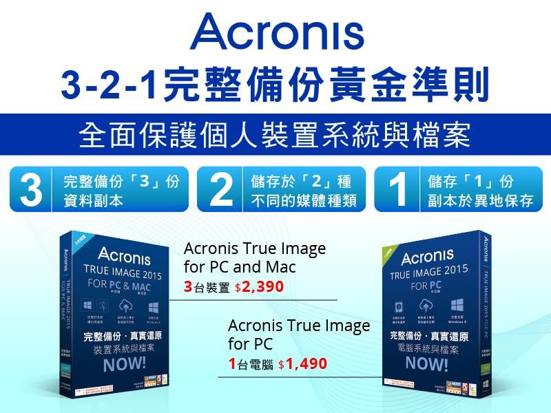 Acronis 3-2-1完整備份黃金準則 全面保護個人裝置系統與檔案