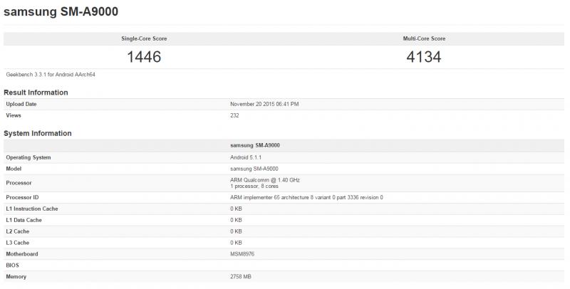 Samsung A9效能曝光,CPU效能可以挑戰目前高端CPU