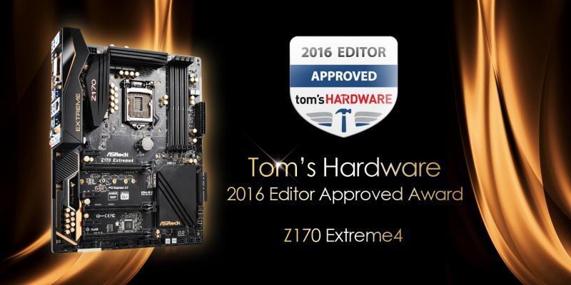 華擎Z170 Extreme4 榮獲Tom's Hardware編輯認可!