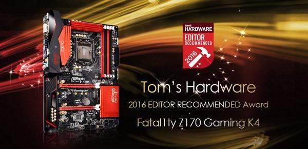 華擎Fatal1ty Z170 Gaming K4 摘得Tom's Hardware編輯推薦獎