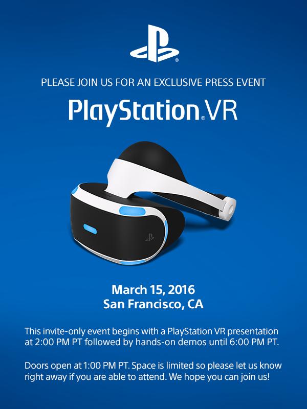 不讓HTC Vive搶盡風頭,PlayStation VR於3月15日舉行發表會