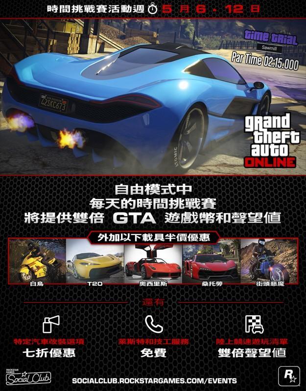 GTA線上模式時間挑戰賽活動週(即日起至5月12 日)