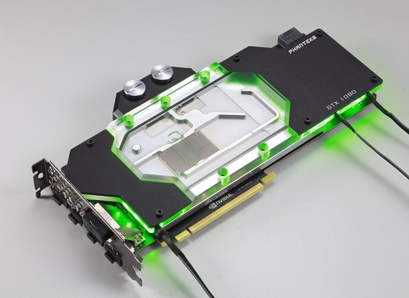 Phanteks推出GTX 1080顯示卡水冷頭,透明冷頭搭配燈光