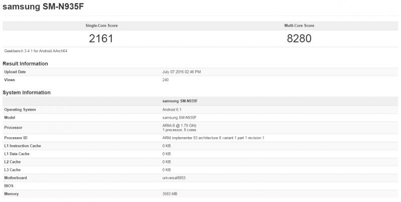 Samsung Note 7 SM-N935F手機效能曝光,SM-G935F也有驚喜?