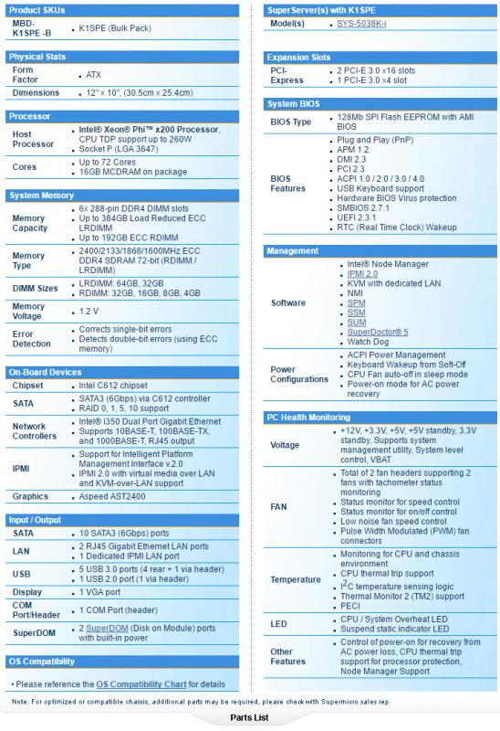 SUPERMICRO、Xeon Phi x200對應LGA3647 ATX主機板K1SPE曝光
