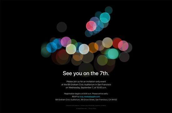 蘋果正式發出邀請函9月7日發布iPhone 7