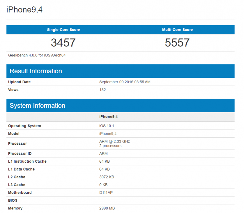 Geekbench上出現iPhone 7 Plus和iPhone 7效能測試,記憶體容量曝光