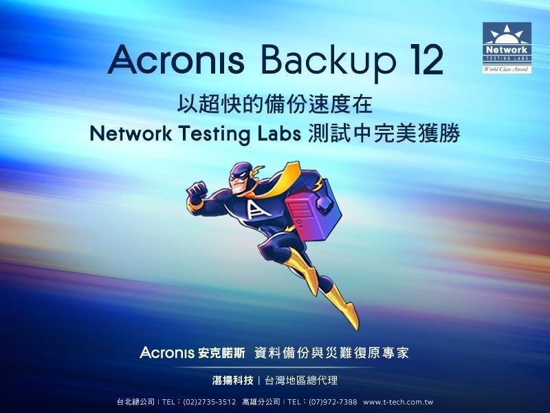 Acronis Backup 12 在 Network Testing Labs 測試中完美獲勝