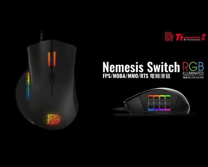 曜越電競Tt eSPORTS推出全新 12顆自定義切換鍵【復仇者NEMESIS RGB 電競光學滑鼠】