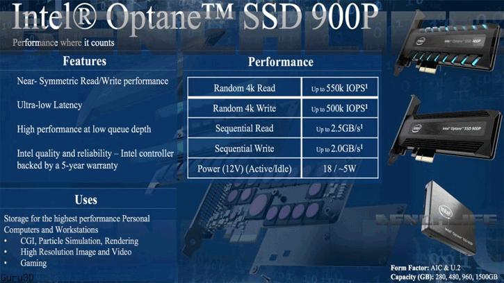 Intel Optane SSD 900P 將於 10 月底推出