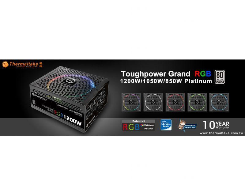 曜越全新Toughpower Grand RGB白金牌系列電源供應器 850W‧1050W‧1200W 繽紛色彩‧一鍵搞定
