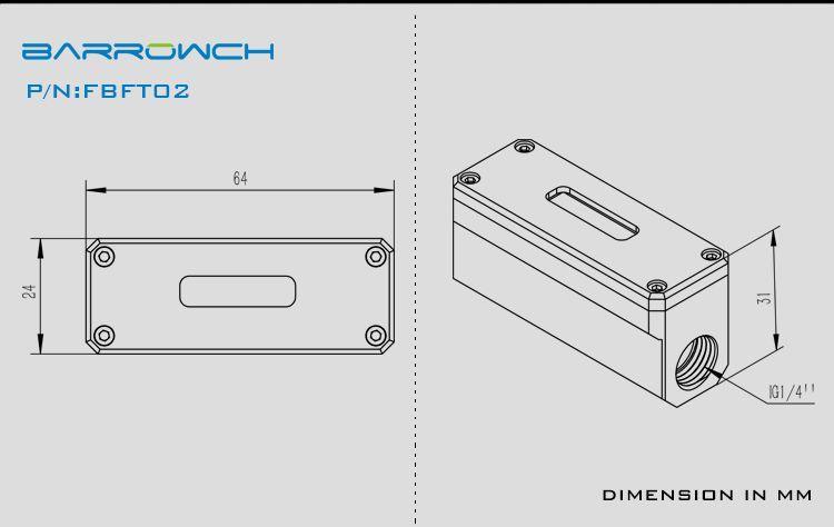 BARROWCH黑/銀數顯水冷OLED水冷水溫計溫度計FBFT02