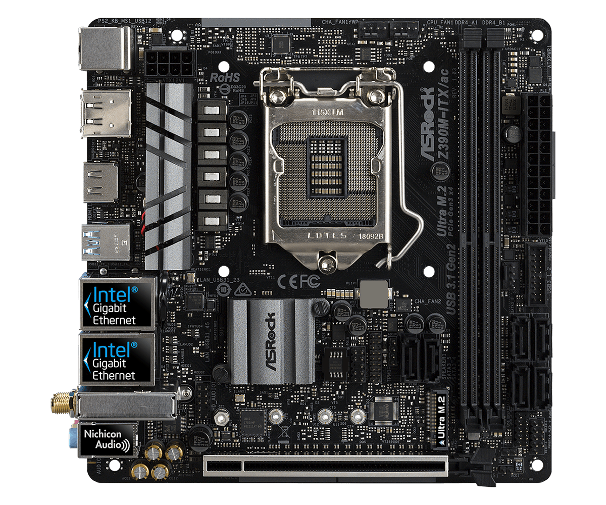 ASRock正式推出針對Intel第9代CPU的Z390主機板 - 以Z390 Taichi Ultimate和Z390 Phantom Gaming 9為旗艦 - XFastest - Z390M-ITXacL2.png